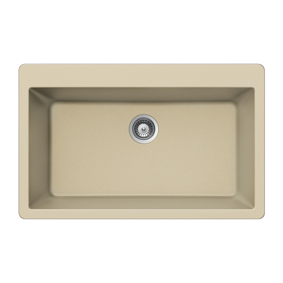 HOUZER 22-in x 33-in Colorado 1 Granite Drop-in (Customizable)-Hole Residential Kitchen Sink