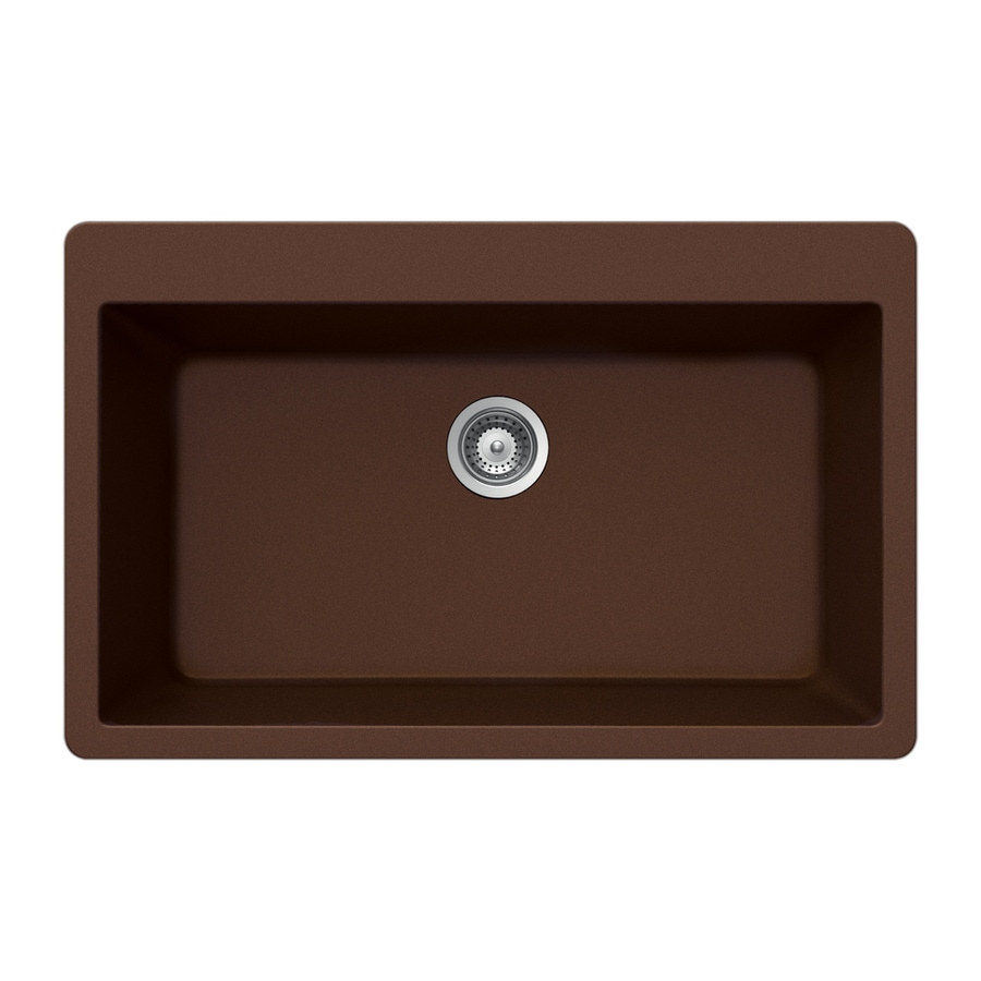 HOUZER 22-in x 33-in Copper 1 Granite Drop-in (Customizable)-Hole Residential Kitchen Sink