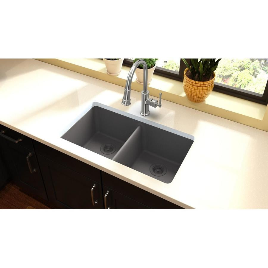 HOUZER 22-in x 33-in Alpina Single-Basin Granite Drop-in Residential Kitchen Sink