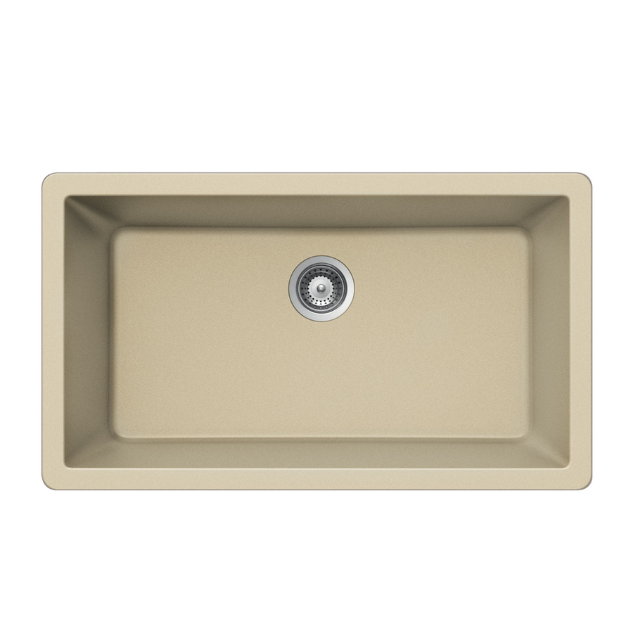 HOUZER 18.875-in x 33-in Colorado Single-Basin-Basin Granite Undermount (Customizable)-Hole Residential Kitchen Sink