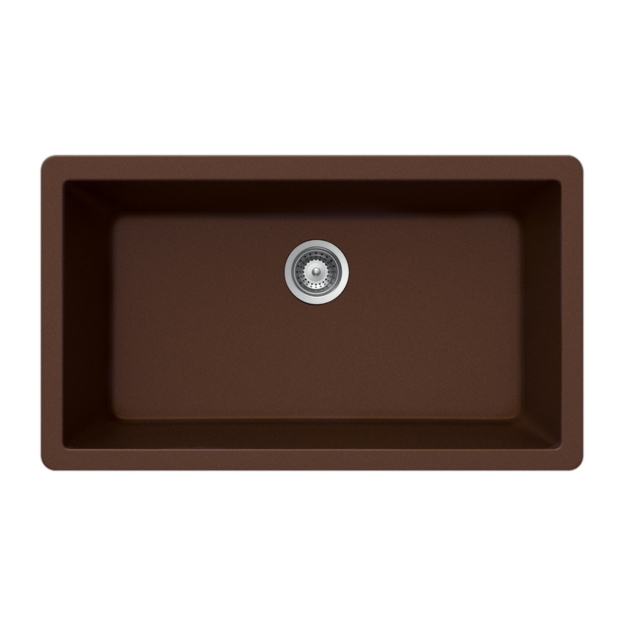 HOUZER 18.875-in x 33-in Copper 1 Granite Undermount (Customizable)-Hole Residential Kitchen Sink
