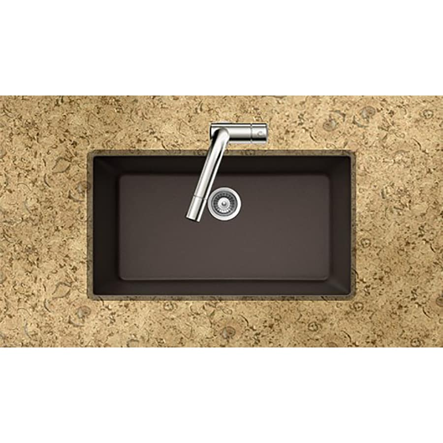HOUZER 18.875-in x 33-in Mocha Single-Basin Granite Undermount Residential Kitchen Sink