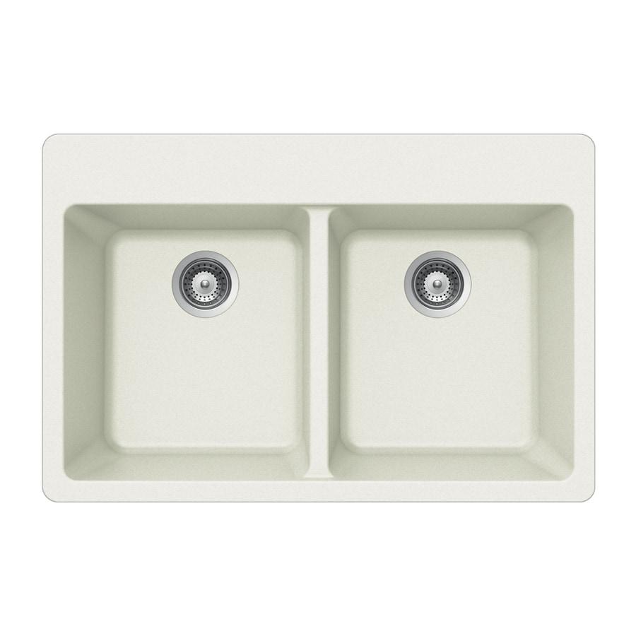 HOUZER 22-in x 33-in Alpina 2 Granite Drop-in 4-Hole Residential Kitchen Sink
