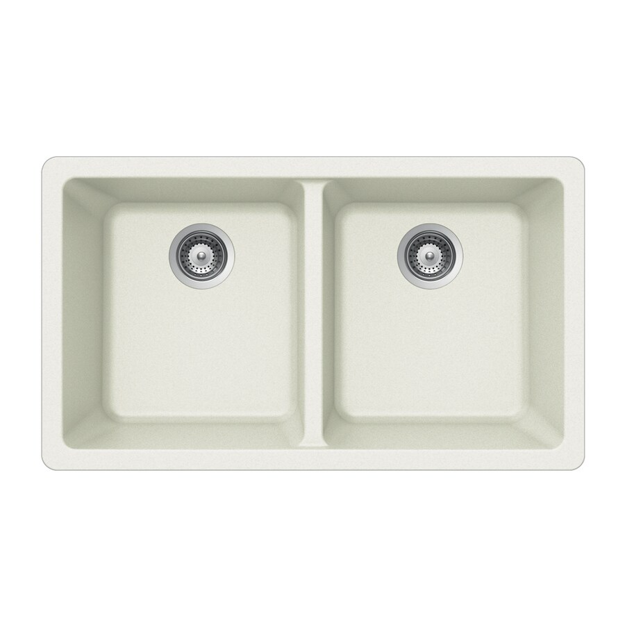 HOUZER 19-in x 33-in Alpina Double-Basin Granite Undermount Residential Kitchen Sink