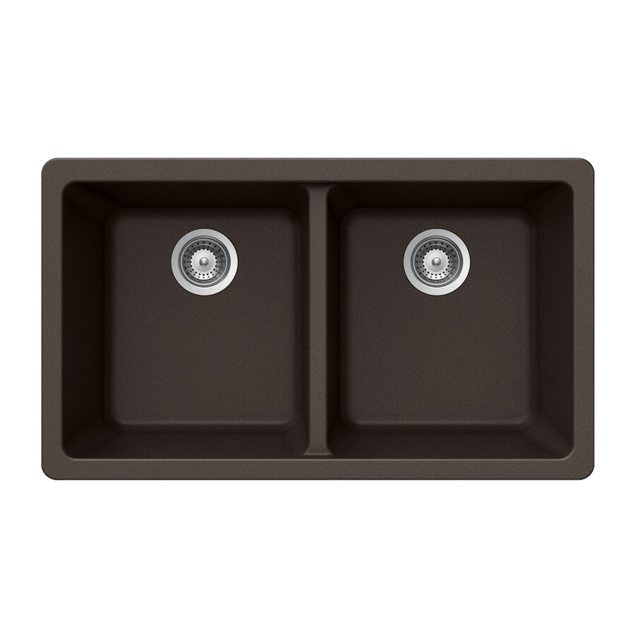 HOUZER 19-in x 33-in Mocha 2 Granite Undermount (Customizable)-Hole Residential Kitchen Sink