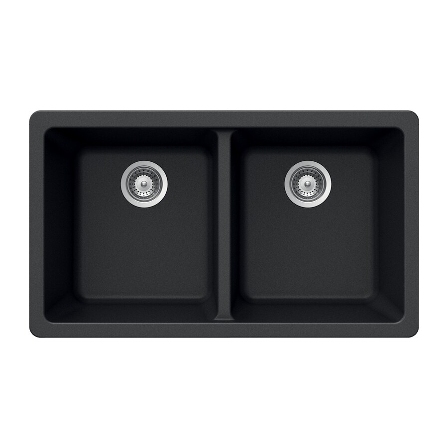 HOUZER 19-in x 33-in Onyx 2 Acrylic Undermount (Customizable)-Hole Residential Kitchen Sink