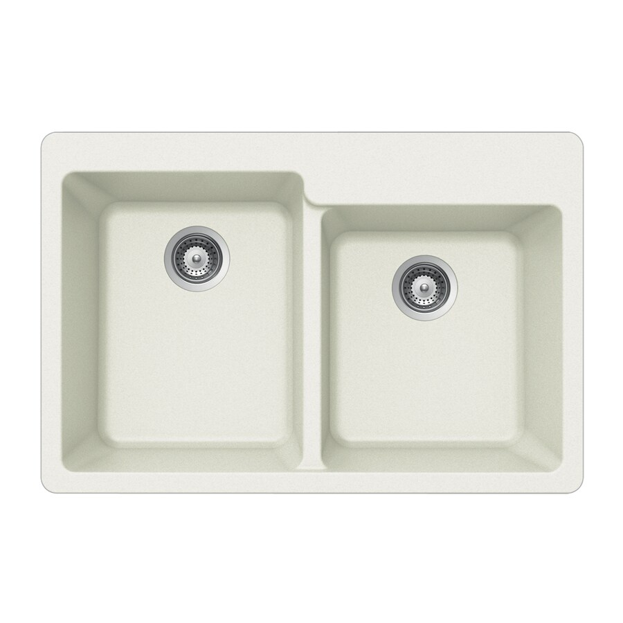 HOUZER 22-in x 33-in Alpina Double-Basin Acrylic Drop-in 4-Hole Residential Kitchen Sink