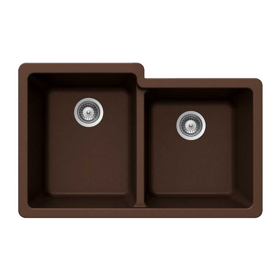 HOUZER 21-in x 33-in Copper 2 Granite Undermount (Customizable)-Hole Residential Kitchen Sink