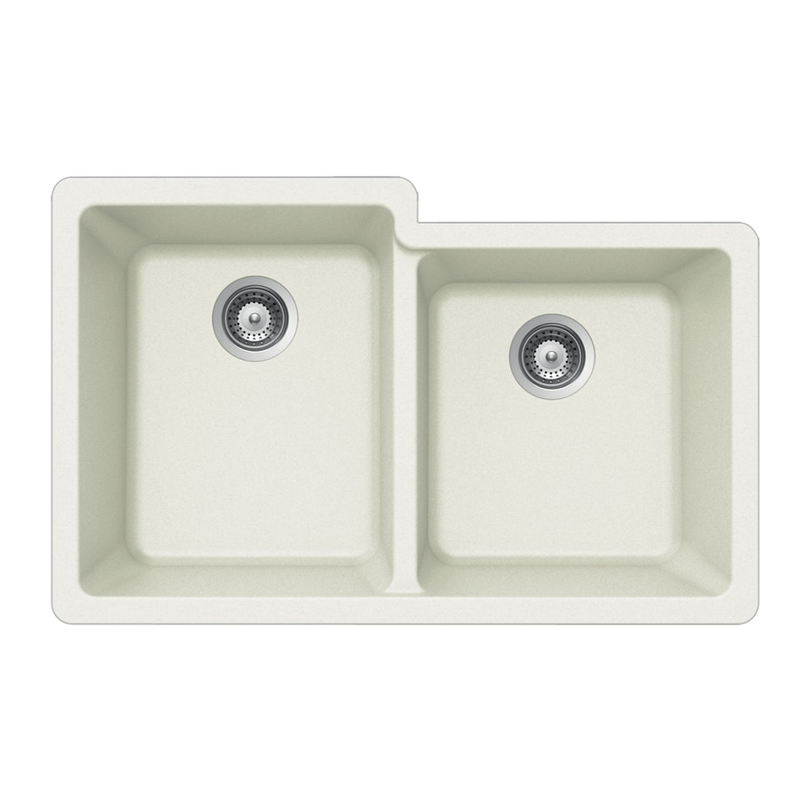 HOUZER 21-in x 33-in Alpina Double-Basin Granite Undermount Residential Kitchen Sink