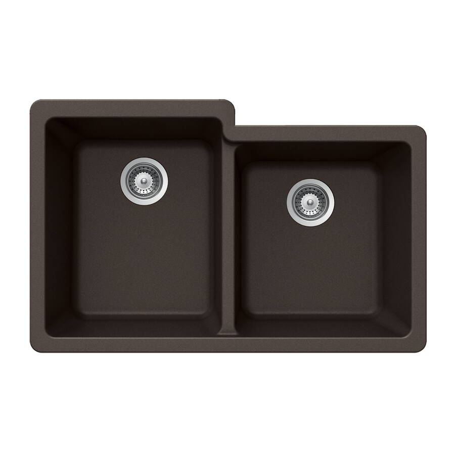 HOUZER 21-in x 33-in Mocha Double-Basin Granite Undermount Residential Kitchen Sink