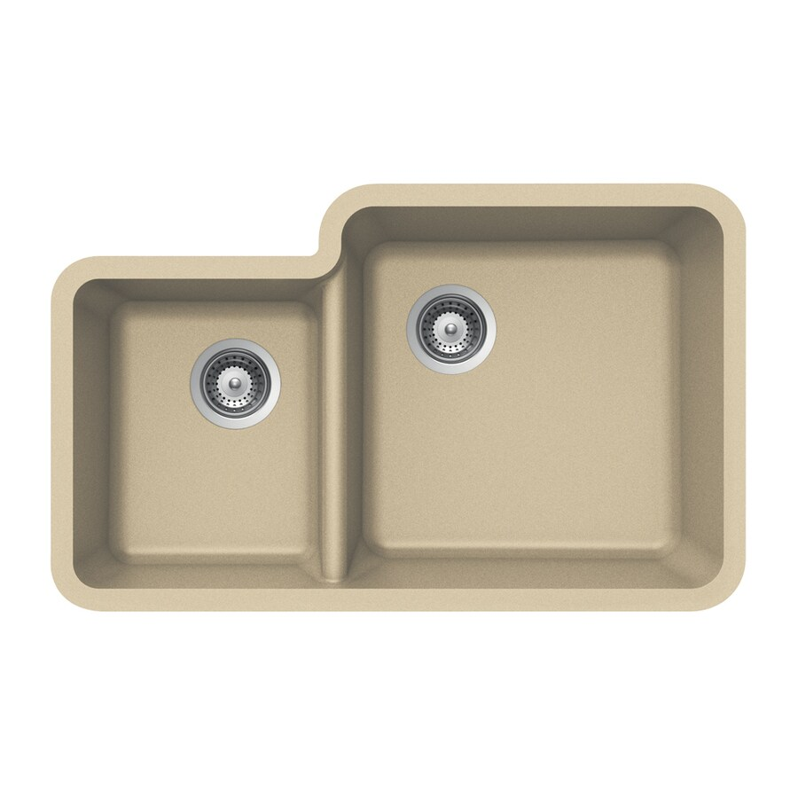 HOUZER 21-in x 33-in Colorado Double-Basin Granite Undermount Residential Kitchen Sink