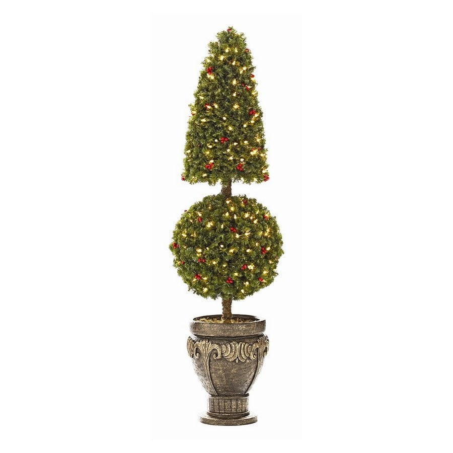 Outdoor Topiary Trees With Lights Shop holiday living 5 indooroutdoor double ball topiary decorative holiday living 5 indooroutdoor double ball topiary decorative artificial tree with clear lights workwithnaturefo