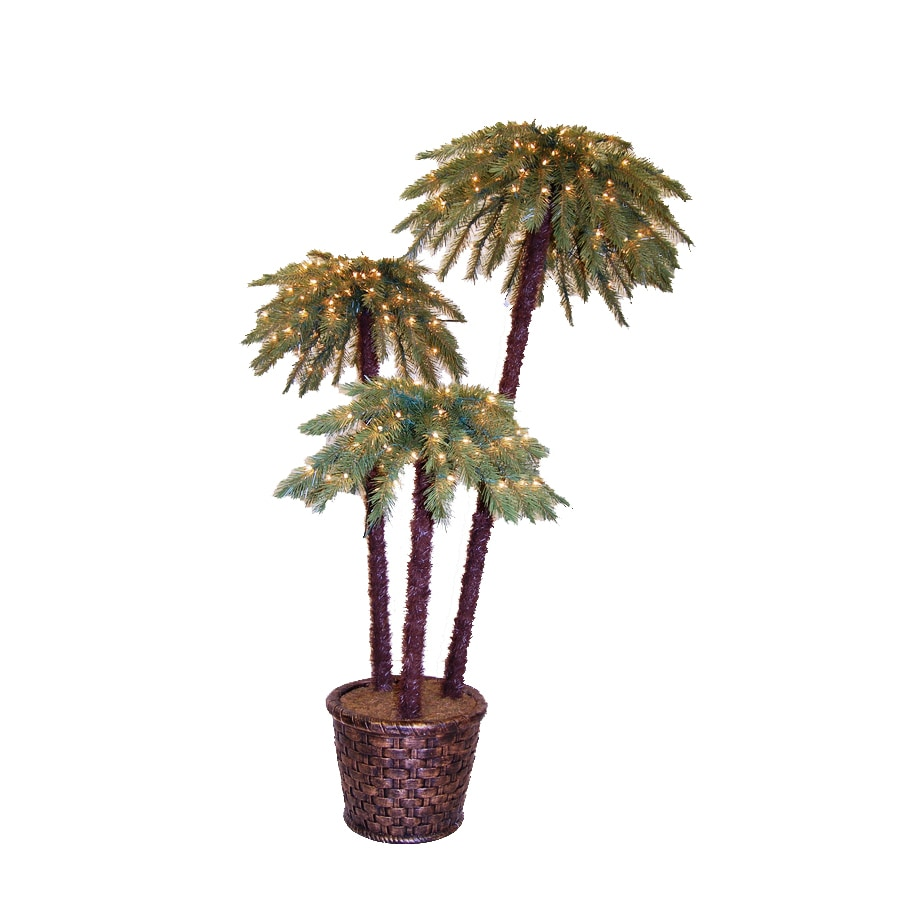 Shop 6-ft Pre-Lit Palm Artificial Christmas Tree with White Lights ...
