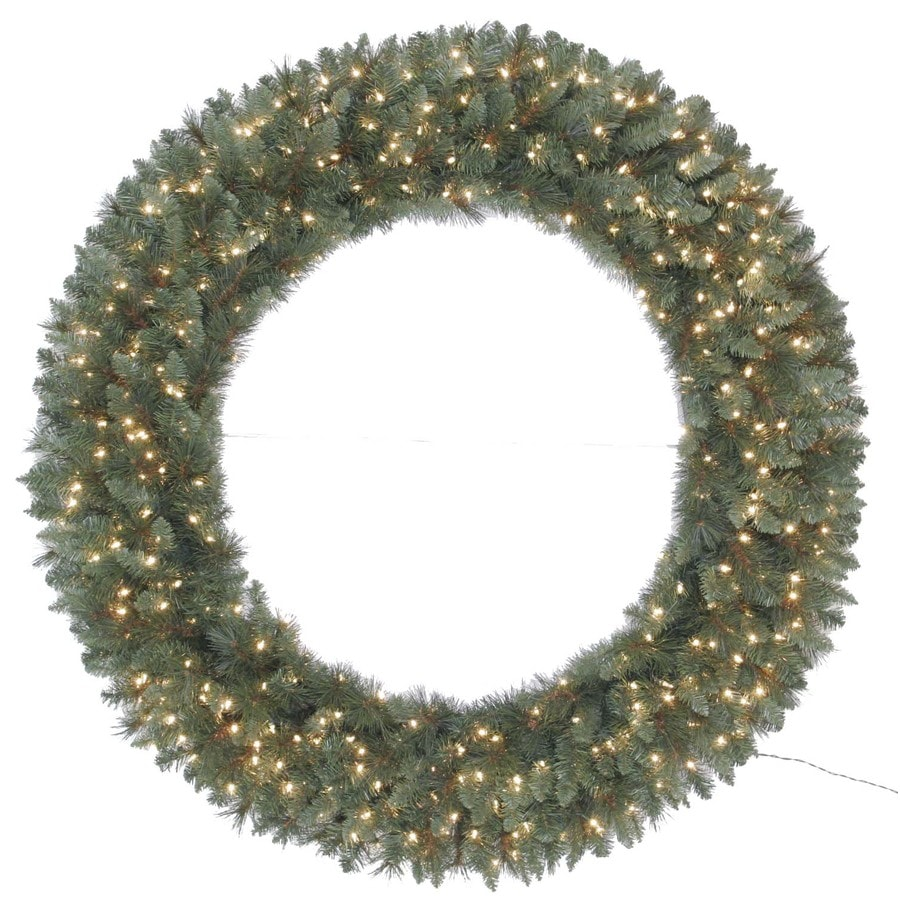Holiday Living 60-in Indoor/Outdoor Artificial Wreath with Clear Incandescent Lights