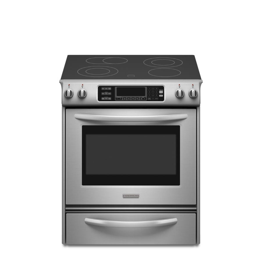 KitchenAid Architect II Smooth Surface Self-Cleaning Slide-in Convection Electric Range (Stainless Steel) (Common: 30-in; Actual 30-in)