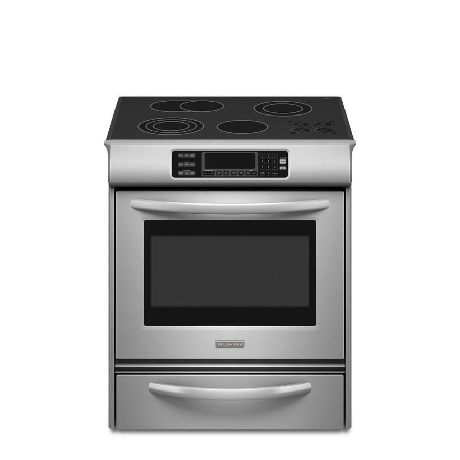 KitchenAid Architect Ii Smooth Surface 4.1-cu ft Self-Cleaning Slide-In Convection Electric Range (Stainless Steel) (Common: 30-in; Actual 30-in)