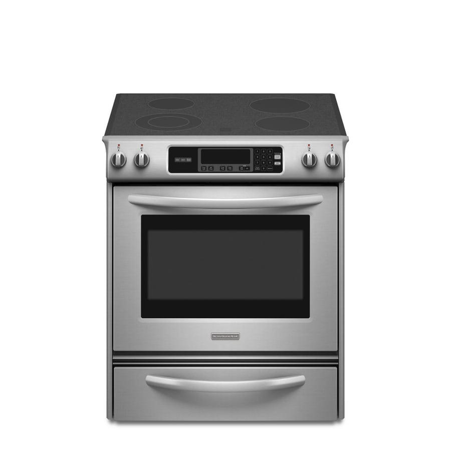 KitchenAid Architect 30-in Smooth Surface 4.1-cu ft Self-Cleaning Slide-In Electric Range (Stainless Steel)