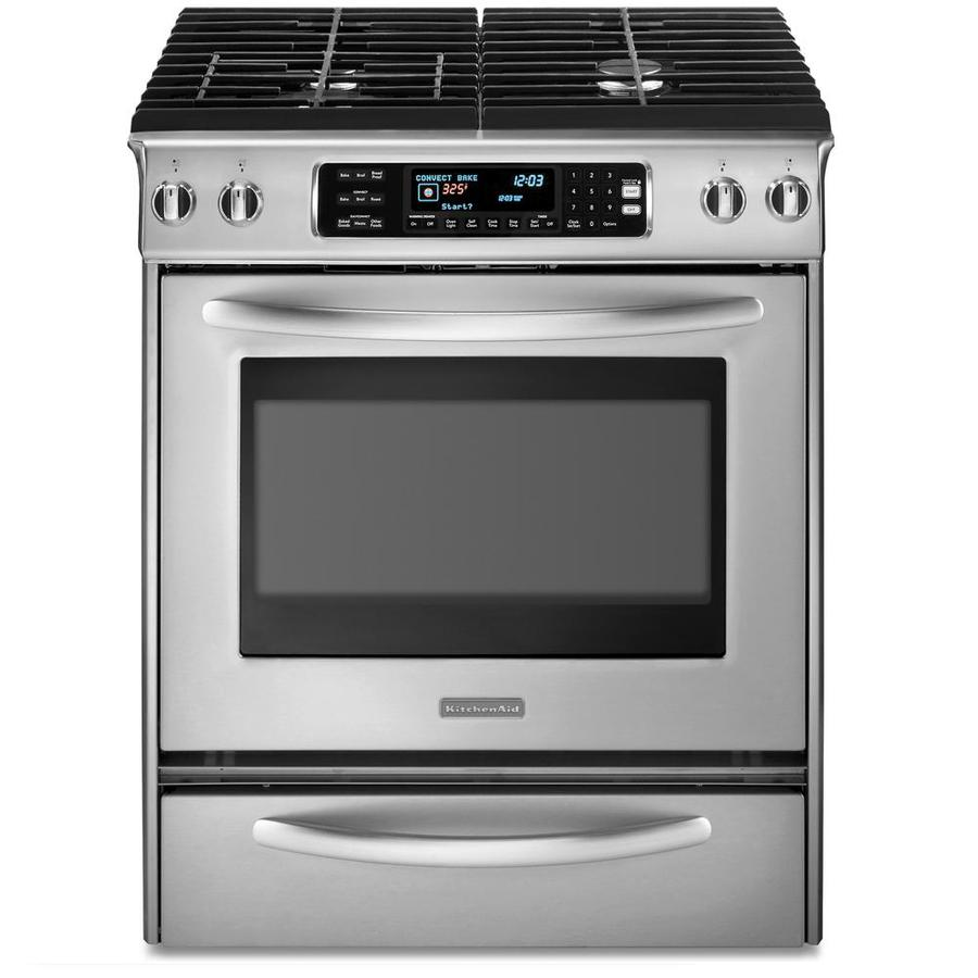 KitchenAid Architect II 4.1-cu ft Convection Single Oven Dual Fuel Range (Stainless Steel) (Common: 30-in; Actual 30-in)