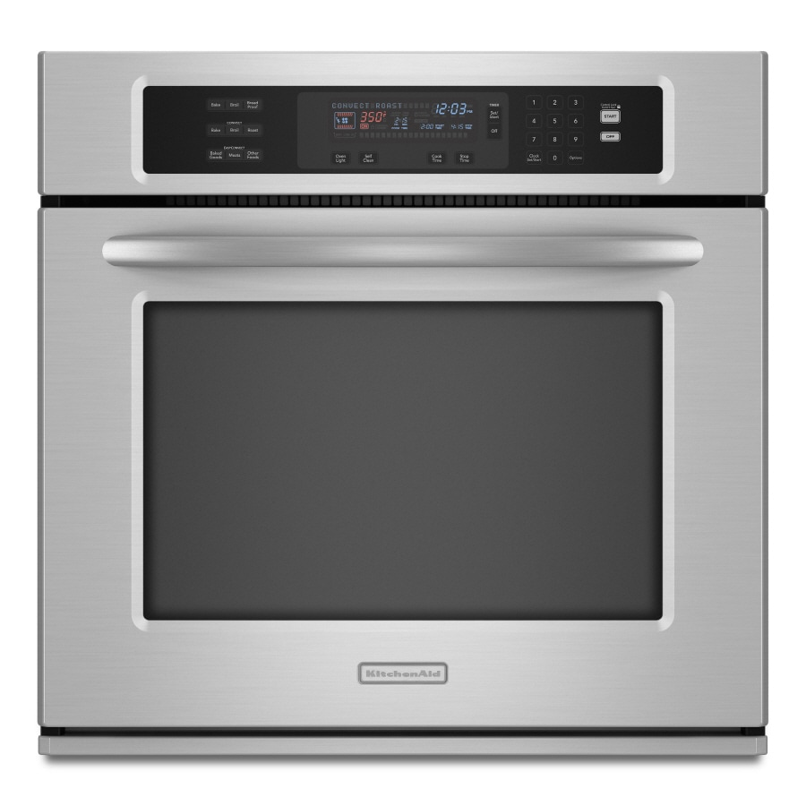 KitchenAid Self-Cleaning Convection Single Electric Wall Oven (Stainless Steel) (Common: 30-in; Actual 29.75-in)