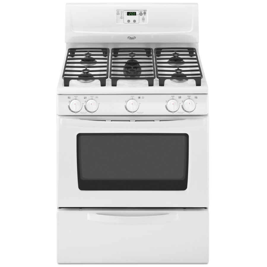 Whirlpool 5-Burner Freestanding 4.4-cu ft Gas Range (White-On-White) (Common: 30-in; Actual: 29.875-in)