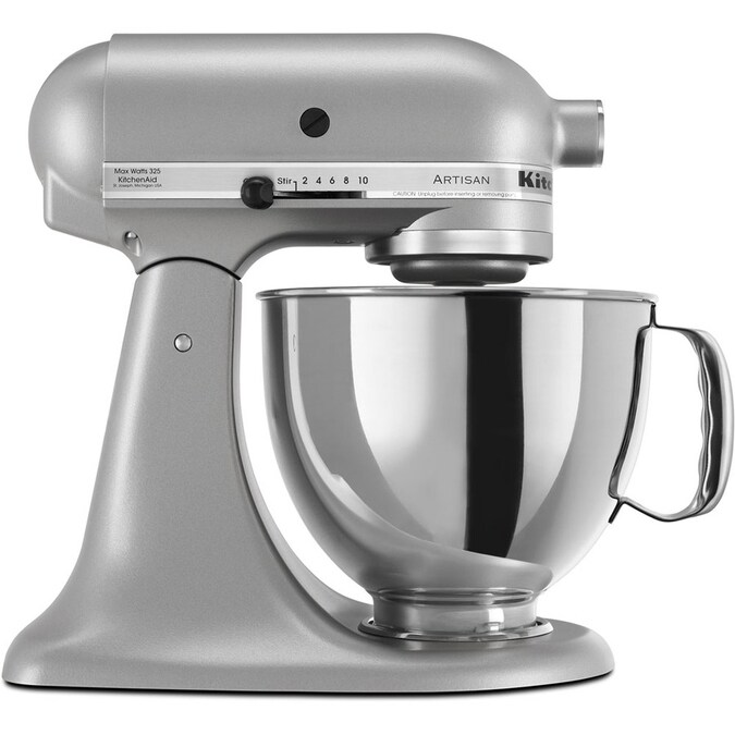 Kitchenaid Artisan 5 Quart 10 Speed Silver Metallic Stand Mixer In The Stand Mixers Department At Lowes Com