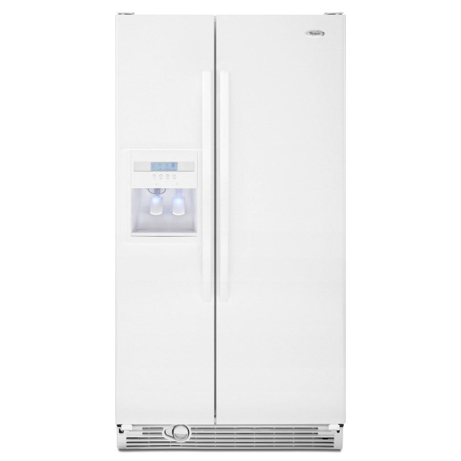 whirlpool side by side refrigerator white. whirlpool 21.8-cu ft side-by-side refrigerator with ice maker (white side by white r