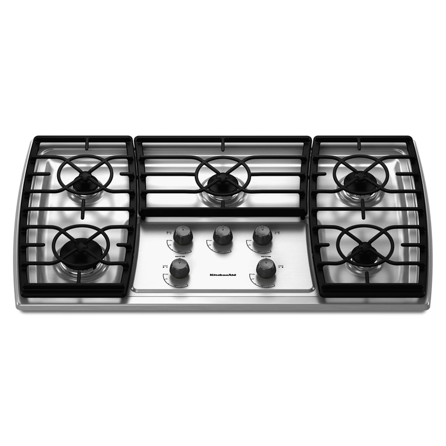 KitchenAid Architect II 5-Burner Gas Cooktop (Stainless) (Common: 36-in; Actual 37.5625-in)