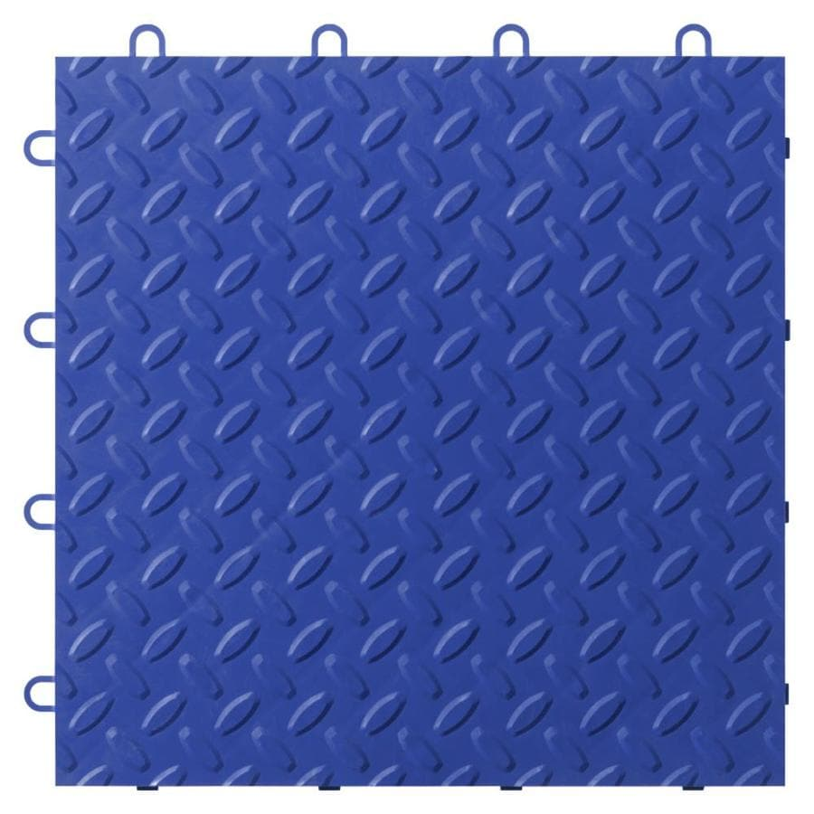 Gladiator 24-Piece 12-in x 12-in Blue Tread Plate Garage Floor Tile