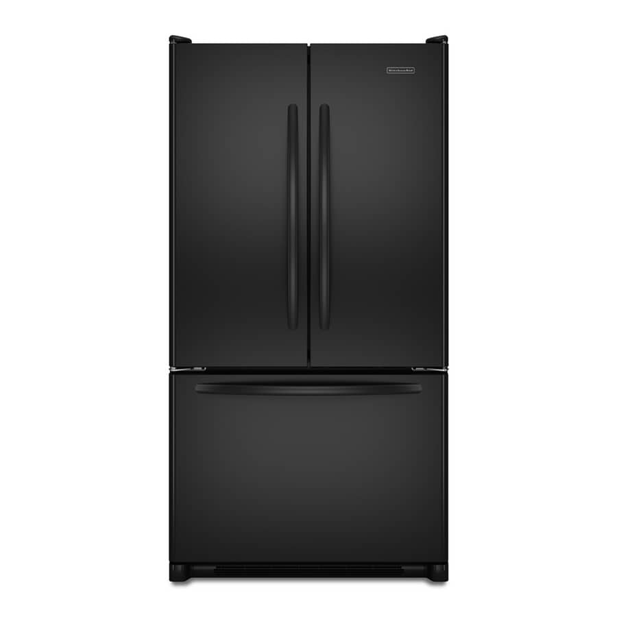 KitchenAid Architect II 19.6-cu ft French Door Counter-Depth Refrigerator with Single Ice Maker (Black) ENERGY STAR