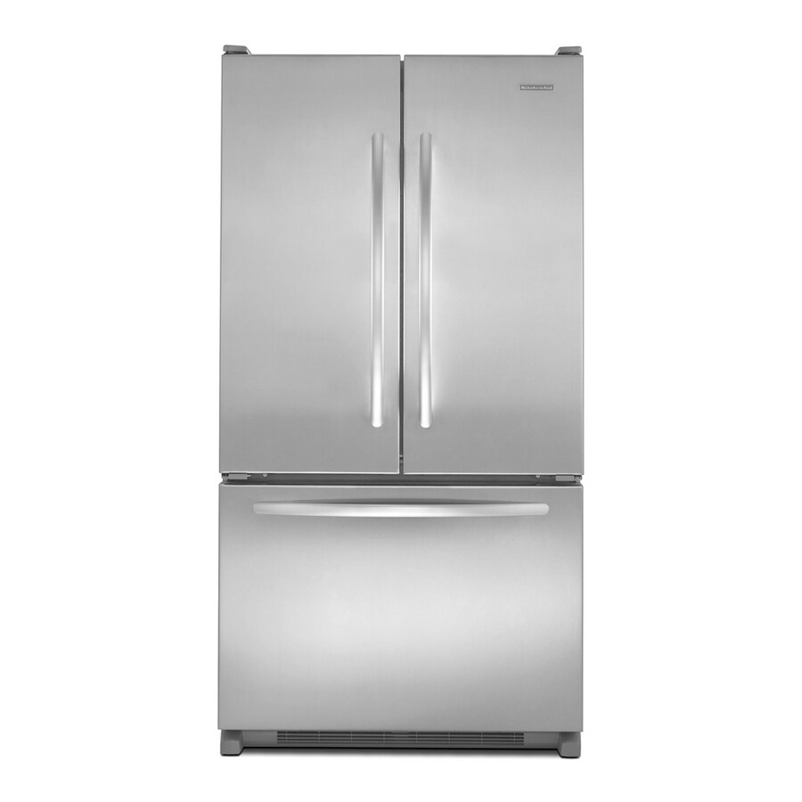 KitchenAid Architect II 19.6-cu ft French Door Counter-Depth Refrigerator with Single Ice Maker (Monochromatic Stainless Steel) ENERGY STAR