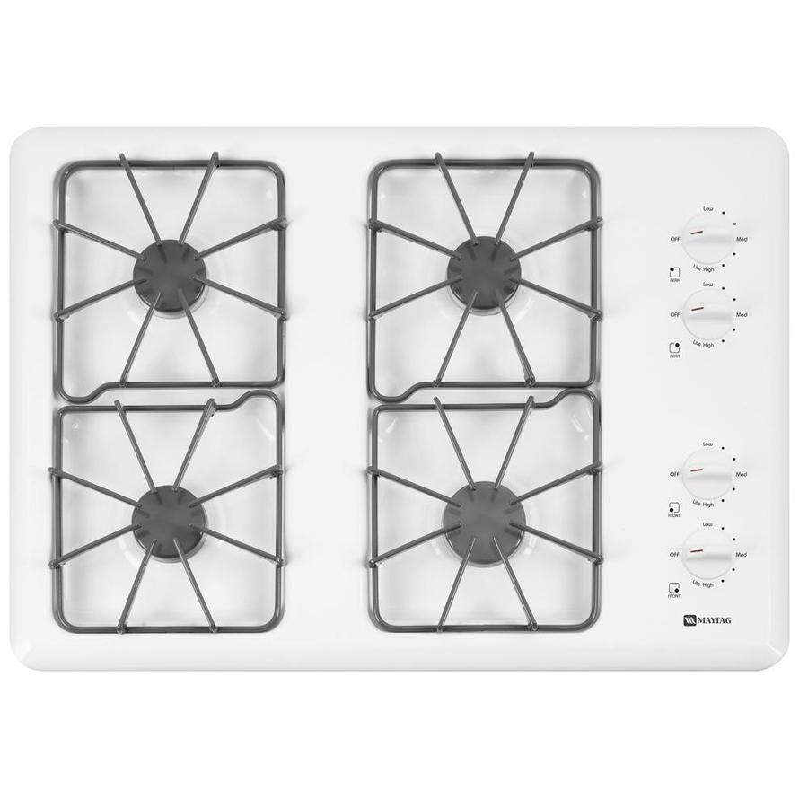 Maytag 4-Burner Gas Cooktop (White) (Common: 30-in; Actual 29.5-in)