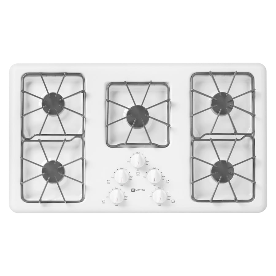 Maytag 5-Burner Gas Cooktop (White) (Common: 36-in; Actual: 36-in)