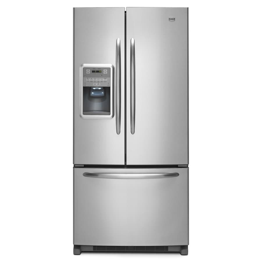 Maytag 21.8-cu ft French Door Refrigerator with Single Ice Maker (Monochromatic Stainless Steel) ENERGY STAR