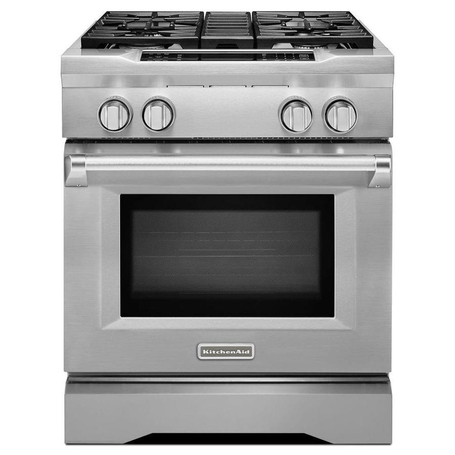 KitchenAid Deep Recessed 4 Burner Self Cleaning Convection Single Oven Dual  Fuel Range (