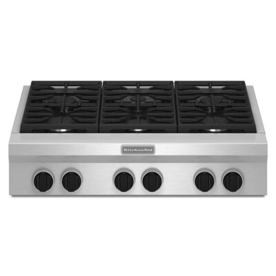 36-in 6-Burner Stainless Steel Gas Cooktop (Common: 36-in; Actual:  35.938-in)