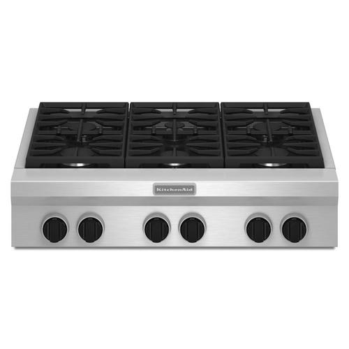 Kitchenaid 36 In 6 Burner Stainless Steel Gas Cooktop Common 36 In Actual 35 938 In In The Gas Cooktops Department At Lowes Com