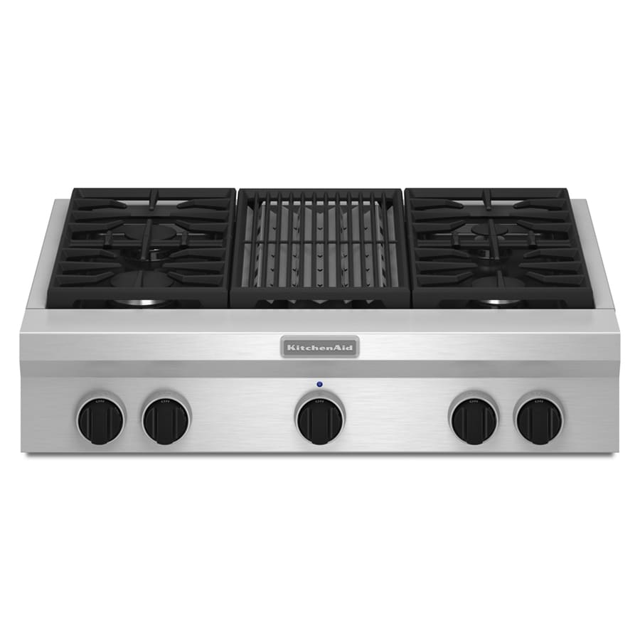 Shop Kitchenaid Gas Cooktop Stainless Steel Common 36