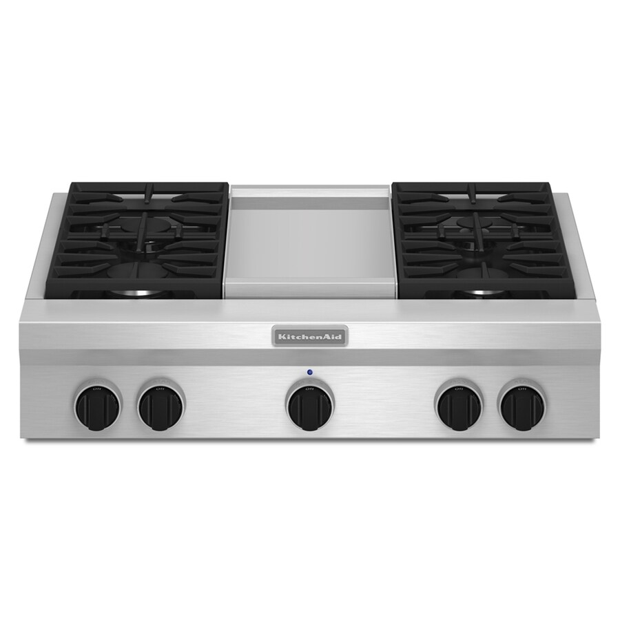 KitchenAid Gas Cooktop (Stainless Steel) (Common: 36-in; Actual: 35.938-in)