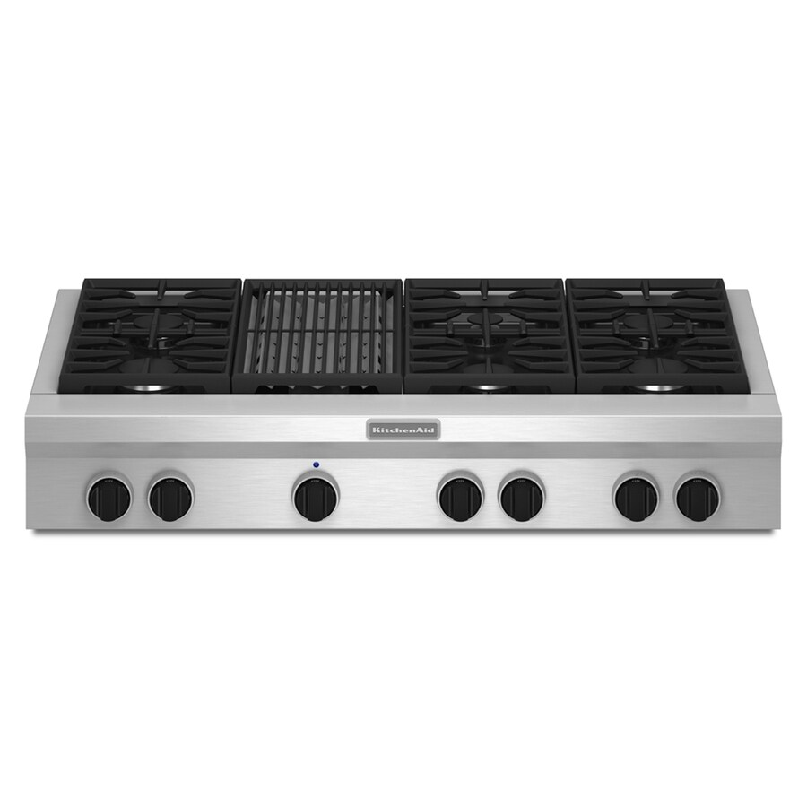 KitchenAid 6-Burner Gas Cooktop (Stainless Steel) (Common: 48-in; Actual: 47.625-in)