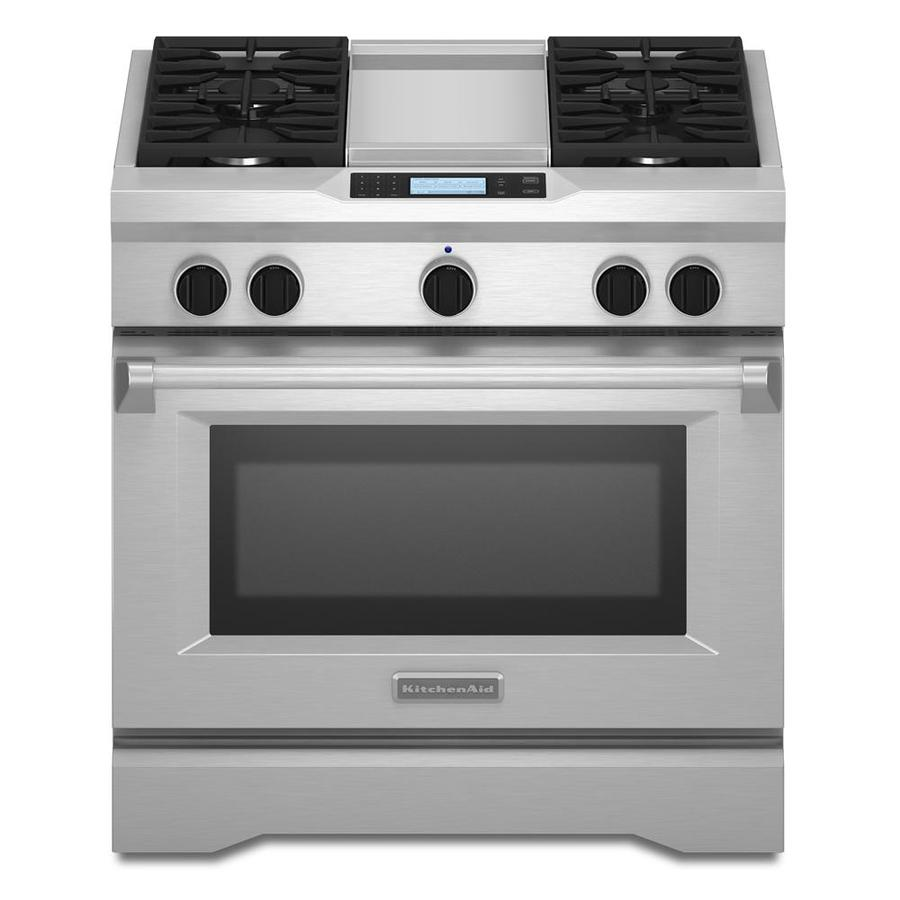 KitchenAid Self Cleaning Convection Single Oven Dual Fuel Range (Stainless  Steel) (Common