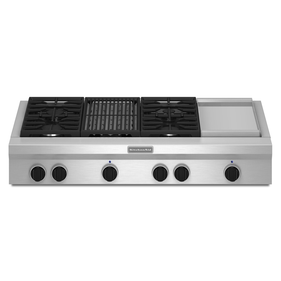 KitchenAid Gas Cooktop (Stainless Steel) (Common: 48-in; Actual: 47.938-in)