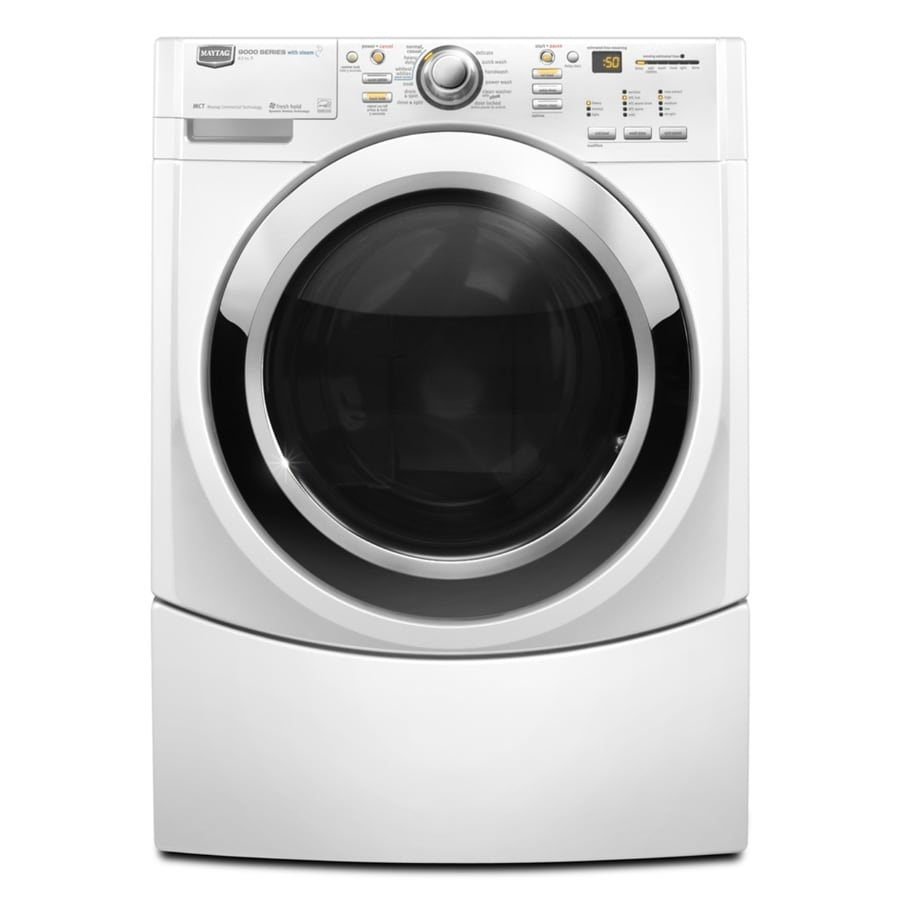 Maytag Performance 3.9-cu ft High-Efficiency Stackable Front-Load Washer with Steam Cycle (White)