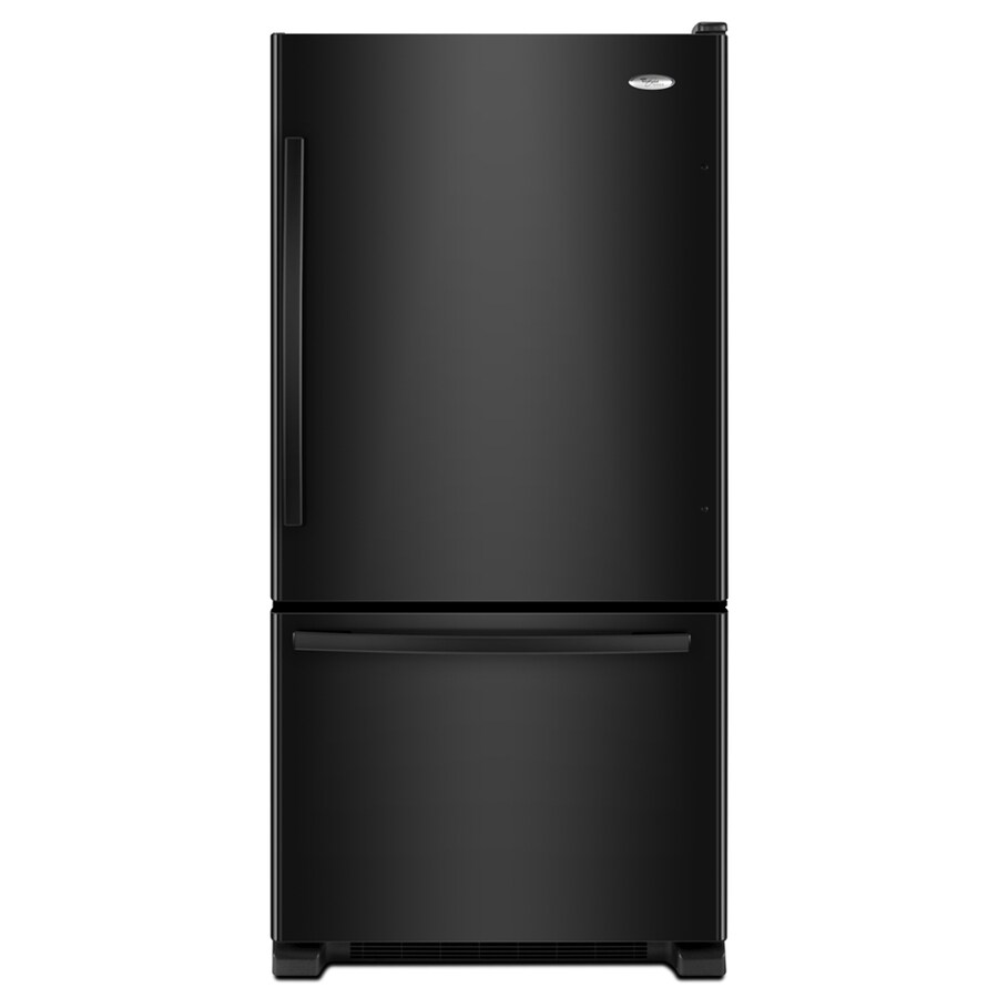 Whirlpool Gold 18.5-cu ft Bottom-Freezer Refrigerator with Single Ice Maker (Black) ENERGY STAR
