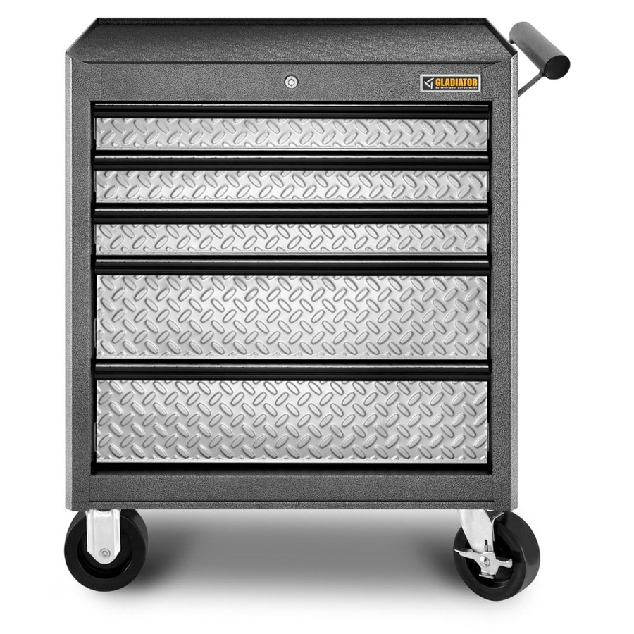 Gladiator 32.6-in x 27.1-in 5-Drawer Ball-Bearing Steel Tool Chest (Silver)