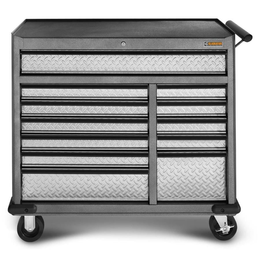Gladiator 38.78-in x 41.46-in 12-Drawer Ball-bearing Steel Tool Chest (Silver)