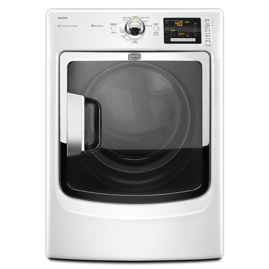 maytag 74cu ft stackable electric dryer with steam cycle white