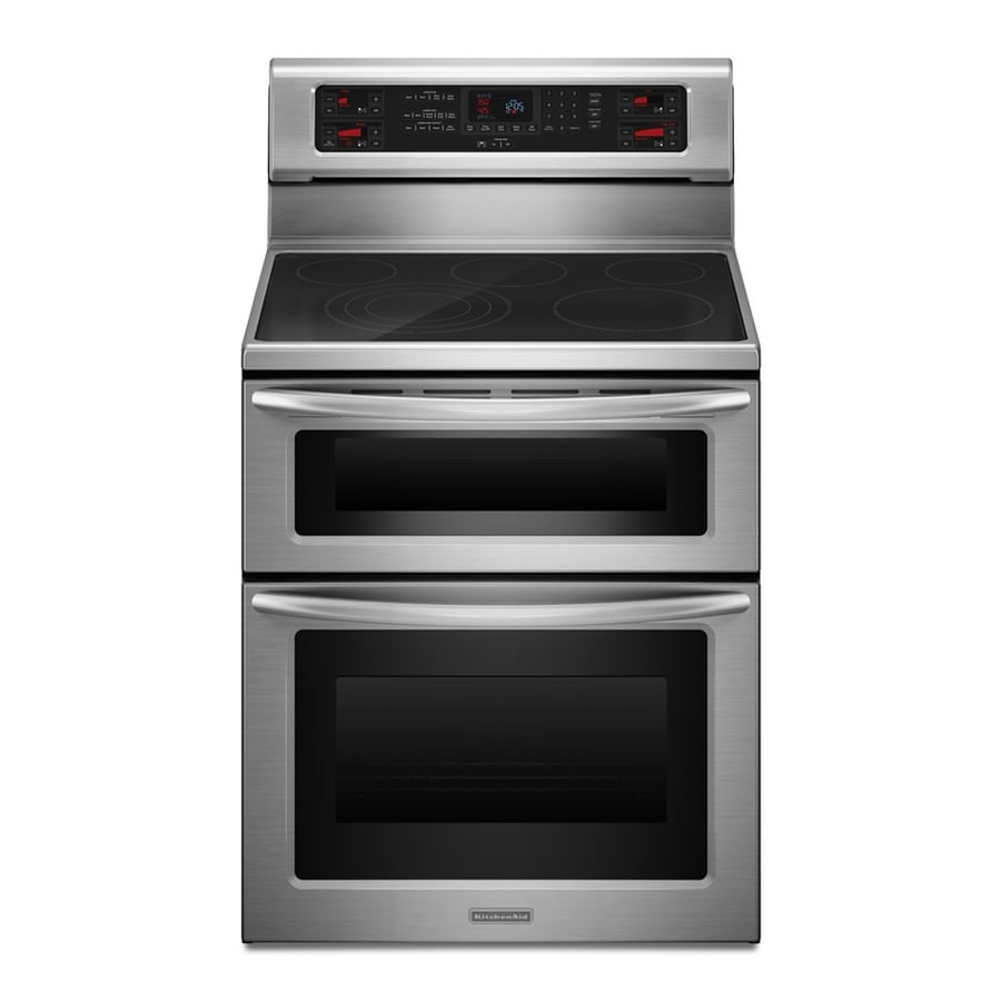 KitchenAid 30-in Smooth Surface 5-Element 2.5-cu ft/4.2-cu ft Self-Cleaning Double Oven Convection Electric Range (Stainless Steel)