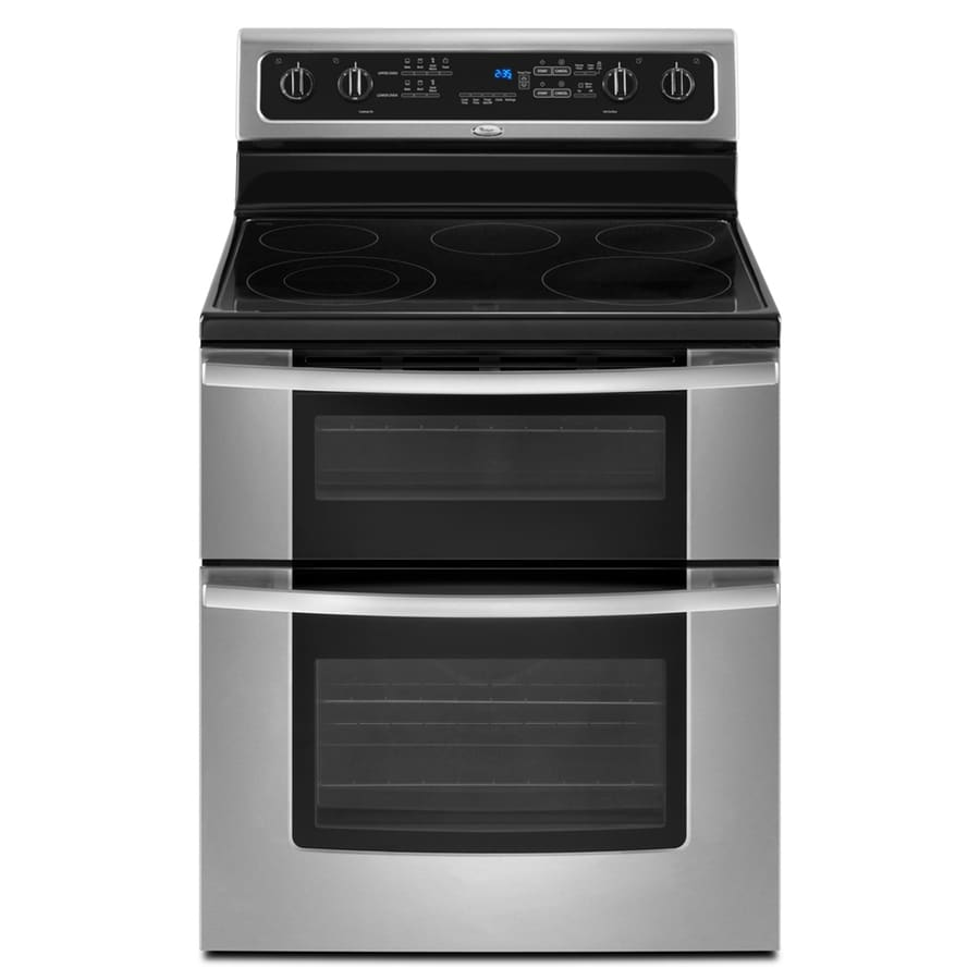 Whirlpool Gold 30-in Smooth Surface 5-Element 4.2-cu ft/2.5-cu ft Self-Cleaning Double Oven Electric Range (Stainless Steel)