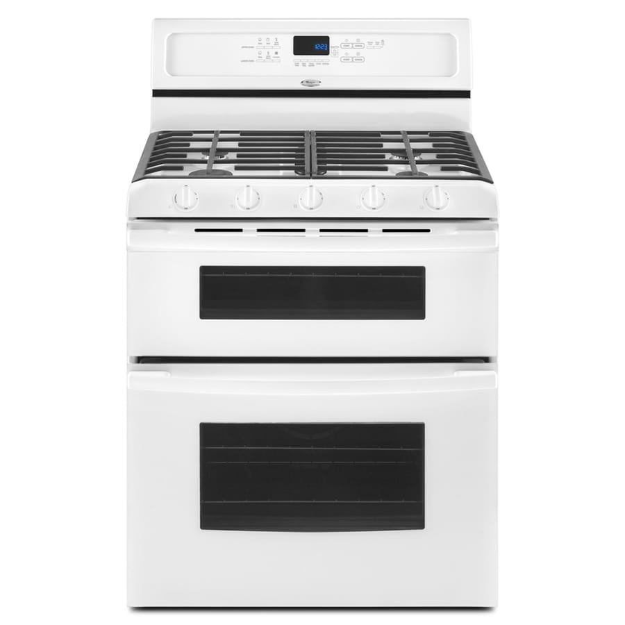 Whirlpool 30 Inch 5 Burner Double Oven Gas Range Color Cream At