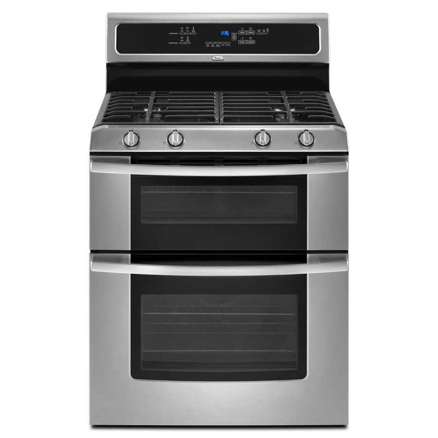 Whirlpool Gold 30-in 2.1-cu ft/3.9-cu ft Self-Cleaning Double Oven Gas Range (Stainless Steel)